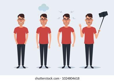 Funny Cartoon Character - Cute Man. Set 2 of 2