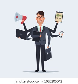 Funny Cartoon Character. Office Worker with a Lot of Hands Holding Different Objects: Documents, Phone, Laptop, Case and Mouthpiece