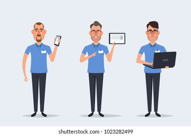 Funny Cartoon Characters. Sellers with Phone, Tablet and Laptop