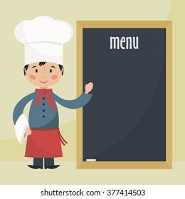 Funny cartoon chef with menu. Simple flat bitmap illustration.