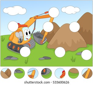 Funny cartoon excavator. Complete the puzzle and find the missing parts of the picture. Educational game for kids