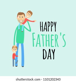 Funny cartoon fathers day greeting card with dad and two small sons