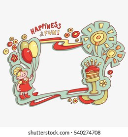funny cartoon frame card birthday greeting, happiness and fun, hand-drawn retro, birthday cake with candles, flowers, girl, balloons and fireworks. Raster copy