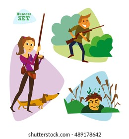 Funny cartoon hunters set. Hunter cartoon set. Different characters hunters with weapons and animals. Illustration. Rasterized Copy