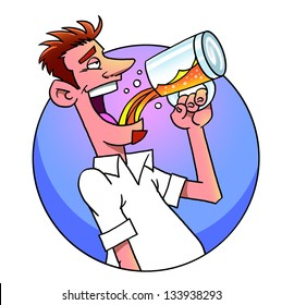 Funny cartoon man drinking  beer from  mug