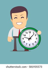 funny cartoon office worker with clock for use in advertising, presentations, brochures, blogs, documents and forms, etc.