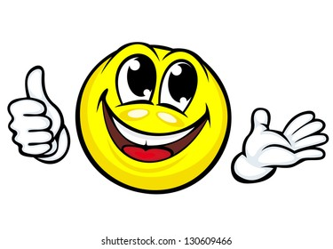 Funny cartoon smile makes good or ok gesture. Vector version also available in gallery