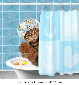 Funny cat with accessories for bathtub.