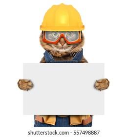 Funny cat is wearing a suit of builder. Craftsman on the white background. It is holding a white banner for text.