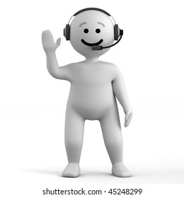 Funny character stay with headphone