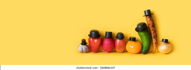 Funny characters of a large family of vegetables. Creative design farmers food market advertising poster. yellow background, copy space for text