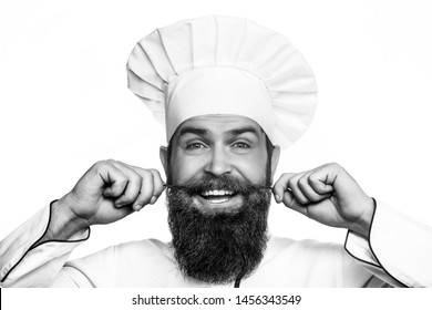 Funny chef with beard cook. Beard man and moustache wearing bib apron. Portrait of a happy chef cook. Cook hat. Bearded chef, cooks or baker. Bearded male chefs isolated on white. Black and white.