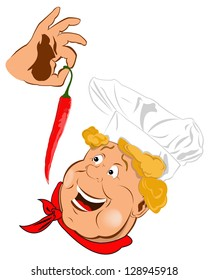 Funny Chef and Spicy burning red pepper chilli