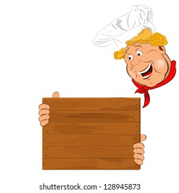 Funny Chef and wooden menu