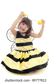 Funny child with bee costume