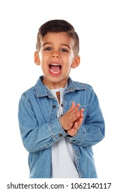 Funny child with dark hair clapping and singing isolated on a white background