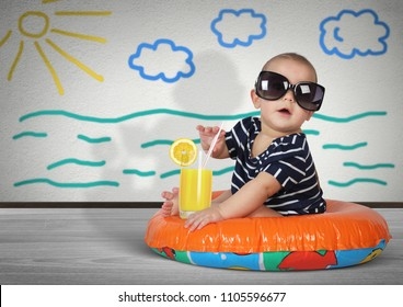 Funny child on swimming ring at home. Beach rest concept