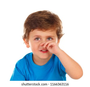 Funny child scratching his nose isolated on a white background