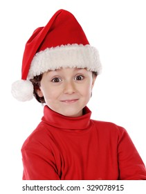 Funny child wiht Xmas hat isolated on a white background