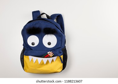 Funny children backpack, open school bag pocket with colored pencils, back to school
