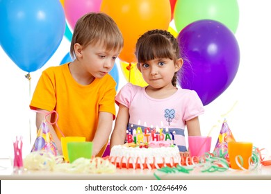 funny children celebrating birthday party