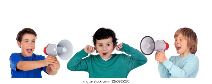 Funny children shouting through a megaphone to his friend. Isolated on white background