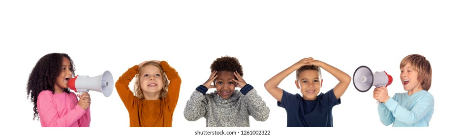 Funny children shouting through a megaphone to his friends. Isolated on white background