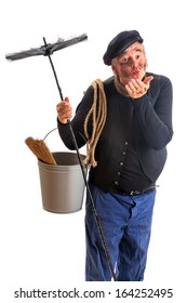 Funny chimney sweep offering a kiss for good fortune