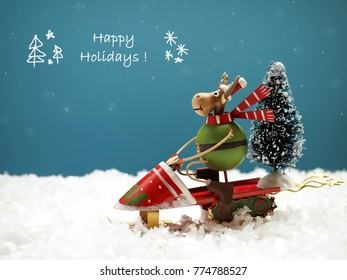 Funny Christmas background with moose riding a sleigh