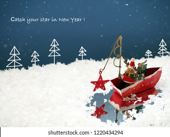Funny Christmas background. Santa Claus Deer catching the star.