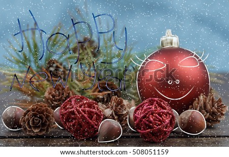 Funny Christmas Decorations Pine Cones Nuts Selective Stock Photo