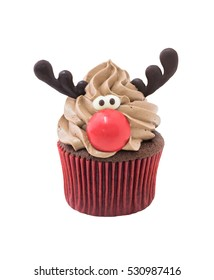 Funny Christmas reindeer cupcake. Delicious gift for x'mas or new year on isolated white background, clipping path