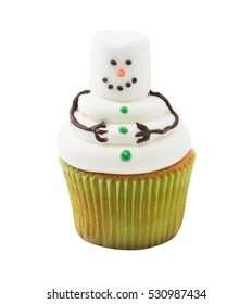 Funny Christmas snowman cupcake. Delicious gift for x'mas or new year on isolated white background, clipping path