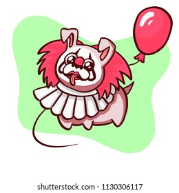 Funny clown dog pug puppy pet friend in circus with red balloon halloween costume green kids sticker illustration in cartoon character scary style