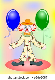 funny clown with green and blue balloons