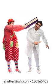 funny clown hit in the head with a book a crazy doctor, on white background