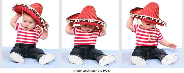 Funny collage strip composed from pictures with little baby and mexican hat.