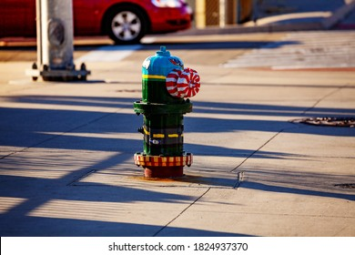 Funny color hydrant on the street of Detroit, Michigan, USA