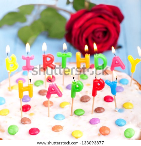 Funny Colorful Birthday Cake Candles Red Stock Photo Edit Now