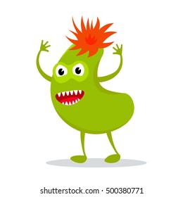 Funny colorful monster icon on white background. Cute cartoon monster character.