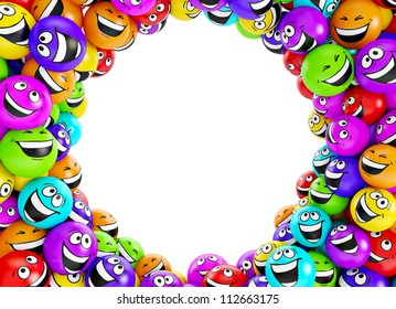 Funny colorful smiles. Positive emotions