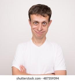 Funny comic portrait of european man