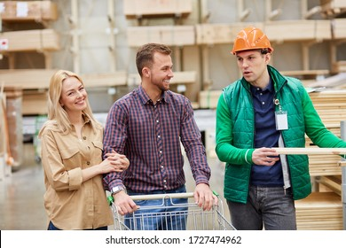 funny conversation of warehouse worker and customers, they talk with each other, have fun in the market, worker help