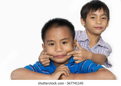 Funny Couple boy portrait of child-white background