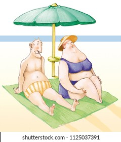 funny couple of elderly they catch the sun under a parasol to the sea