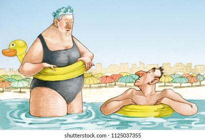 funny couple of elderly they make the bath in sea in a bathing establishment