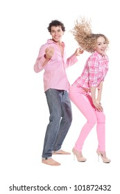 funny couple isolated on white