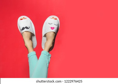Funny couple in love. Valentines day background with woman legs