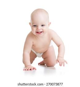 funny crawling baby boy isolated on white background