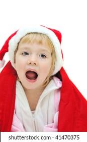 funny crying santa girl over white background